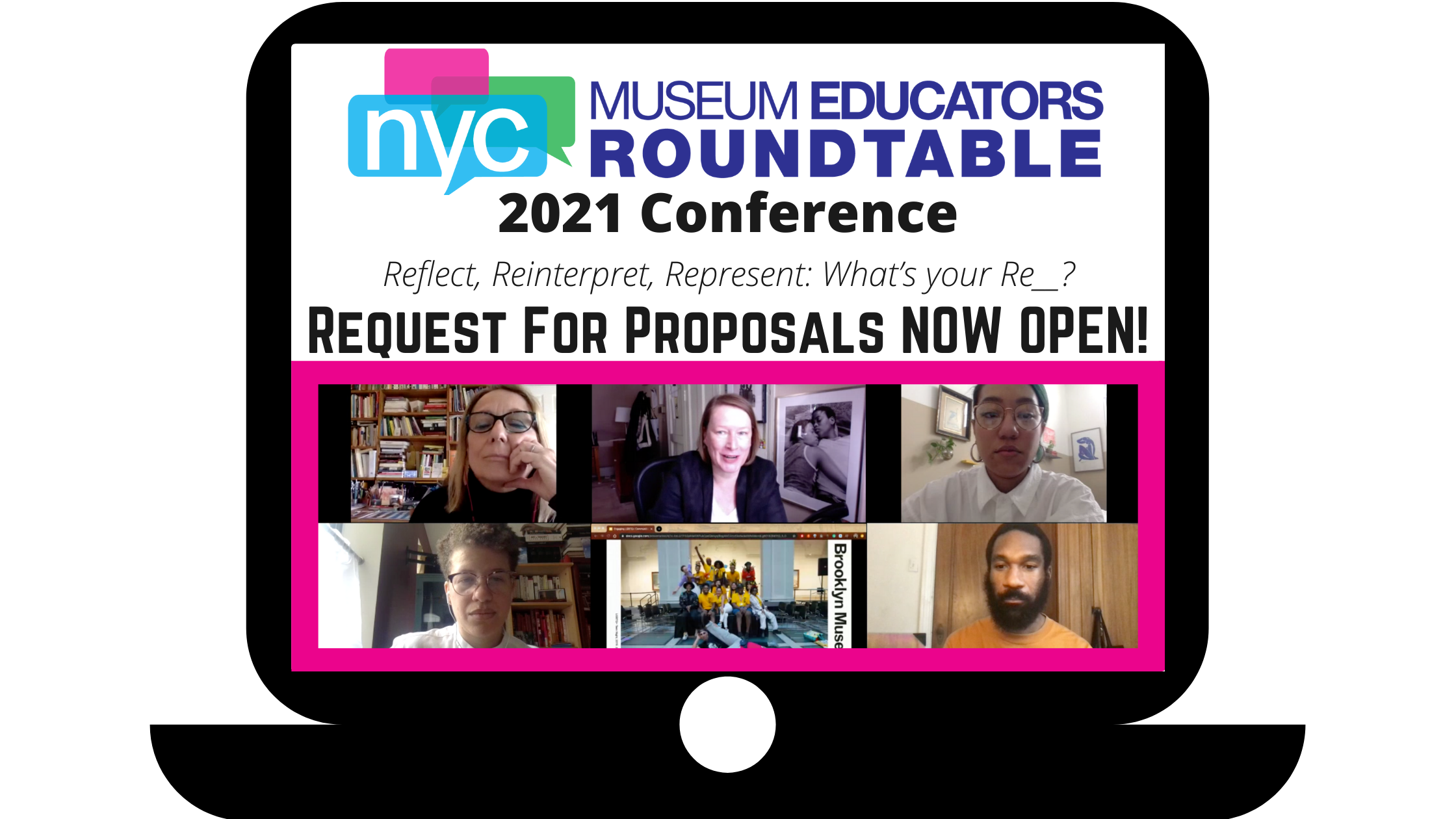 stylized computer showing group video call and text NYCMER 2021 Call for Proposals Now Open!